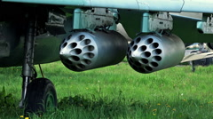 Close-up View of Weapon on Military Plane Stock Footage
