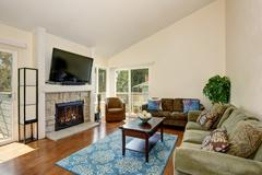 Excellent living room with blue rug, hardwood floor, and fireplace. Stock Photos