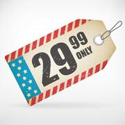 American Realistic paper price vector tag. isolated from background. layered. - stock illustration