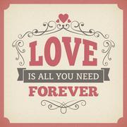 Wedding love forever typography vintage card background poster vector design. - stock illustration