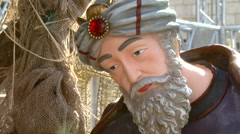Joseph in a Nativity Scene in Bethlehem, the Birthplace of Christ - stock footage
