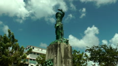 Belain d Esnambuc Statue in La Savane Park, Fort de France, Martinique Stock Footage
