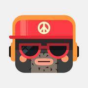Rapper avatar illustration. Trendy gangsta squared icon in flat style Stock Illustration