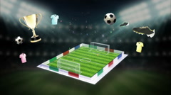 Around Soccer icon, football field, animation - stock footage