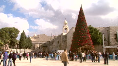 Bethlehem's Manger Square next to the Nativity Church, the birthplace of Christ Stock Footage