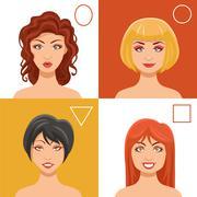 Women Faces Set Piirros