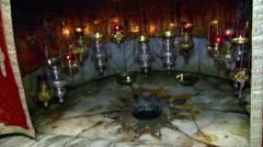 Bethlehem's Nativity Church, the very spot where Christ was born - stock footage