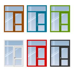 Set of doors and windows - stock illustration