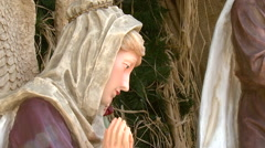 A nativity scene in Bethlehem, the birthplace of Christ, with Mary and Jesus - stock footage