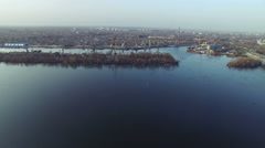 Flying over the Dnipro river Stock Footage