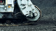 Machine moves on tracks - detail of tracks Stock Footage