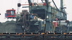 Cab on big machine lifts up Stock Footage