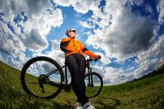 Cyclist on the Beautiful Meadow Trail Stock Photos