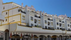 Distinct Portuguese apartments above a row of shops. Stock Footage
