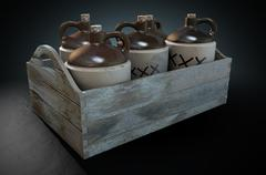 Moonshine In Wooden Crate Stock Illustration