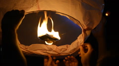 Paper Lantern Starts to Fly Stock Footage
