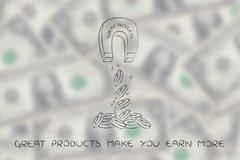 Magnet with the words Great Products attracting coins & profits Stock Illustration