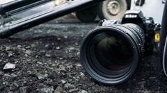 Camera lies on ground Stock Footage