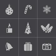 Vector black cristmas icons set - stock illustration