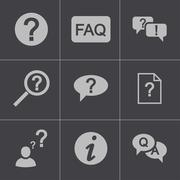 Vector black FAQ icons set Stock Illustration