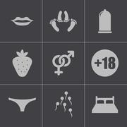 Vector black sex icons set - stock illustration