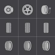 Vector black tire icons set Stock Illustration