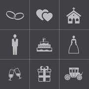 Vector black wedding icons set Stock Illustration