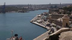 View of Grand Harbour, Valletta, Malta. Stock Footage