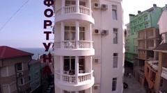 "Crimea. Alushta. ""Fortune"" Hotel. The camera slowly goes up. Stock Footage"