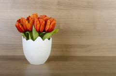 Tulip flowers against wooden background Stock Photos