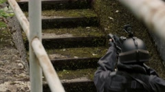 Close Up of Special Force Soldiers witch walk upstairs - stock footage
