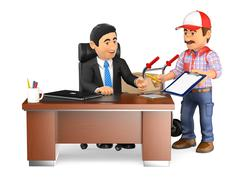 3D Businessman receiving a package at the office Stock Illustration