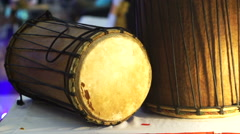Traditional wood and leather drum of South East Asia. Classic music instrument Arkistovideo