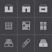 Vector black archive icons set Stock Illustration