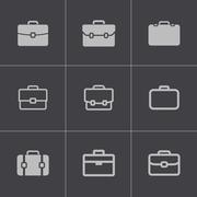 Vector black briefcase icons set Stock Illustration