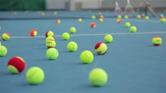 Tennis bolls and court. Stock Footage