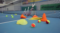 Tennis Equipment for tennis gaming and training. Stock Footage