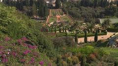 The Bahai gardens in the Israeli city of Haifa Stock Footage
