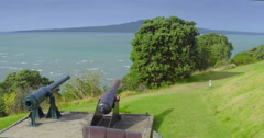 Aerial of canons on top of north head looking toward rangitoto island, Auckland Stock Footage