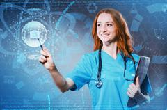 Female doctor with set of abstract elements Stock Photos