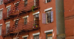 Typical Gritty Apartments Above Restaurants in Little Italy  	 Stock Footage
