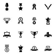 Vector black  trophy and  awards  icons set Stock Illustration