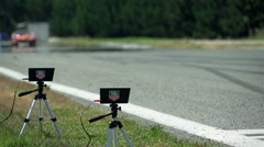 instruments for measuring the speed of the track with sports car on track - stock footage