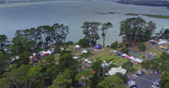 Aerial of summer music festival in Auckland, New Zealand Arkistovideo