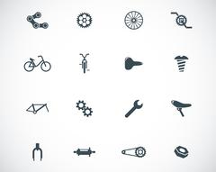Vector black bicycle part icons set Stock Illustration