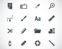 Vector black  graphic design  icons set Stock Illustration