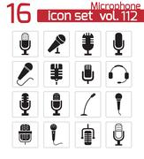 Vector black  microphone  icons set Piirros