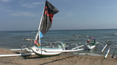 Amed beach with jukung, balinese fishing boat Stock Footage