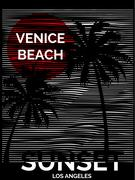 Vintage Tropical graphic with typography design Venice Beach Los Angeles - stock illustration