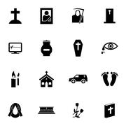 Vector black  funeral icons set Stock Illustration